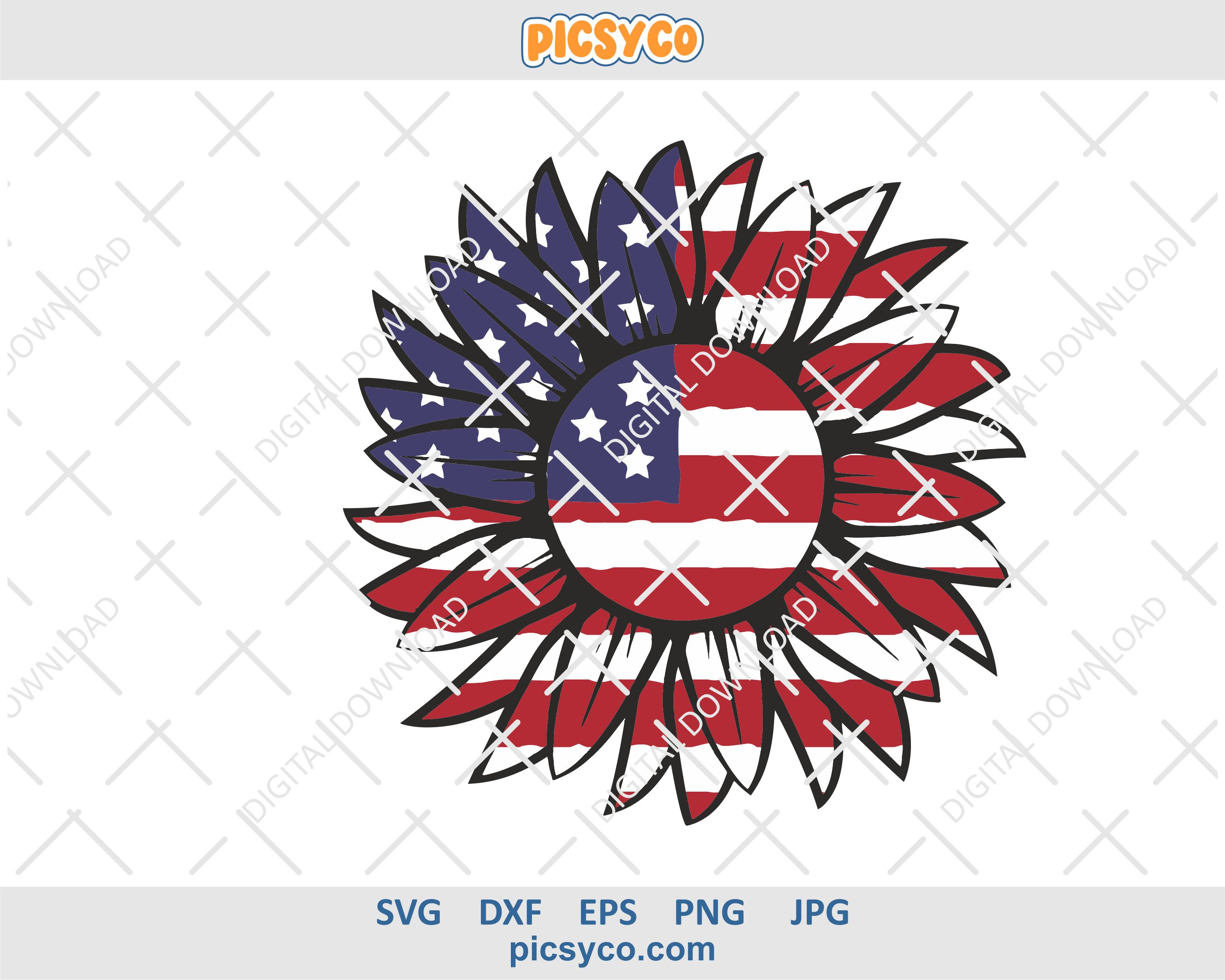 Download Sunflower usa flag svg, file for cutting and sublimation ...