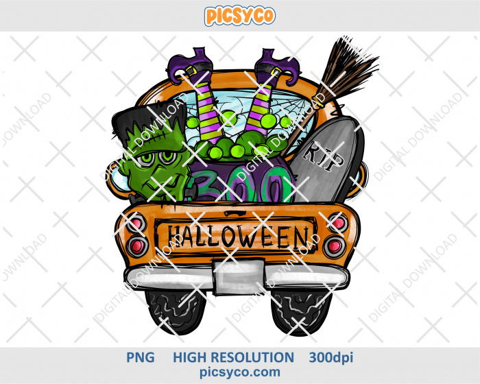Halloween truck png, hand drawn digital download file for sublimation print