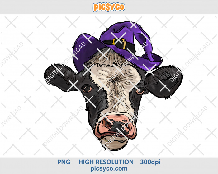 Cow in witch hat png, hand drawn digital download file for sublimation print