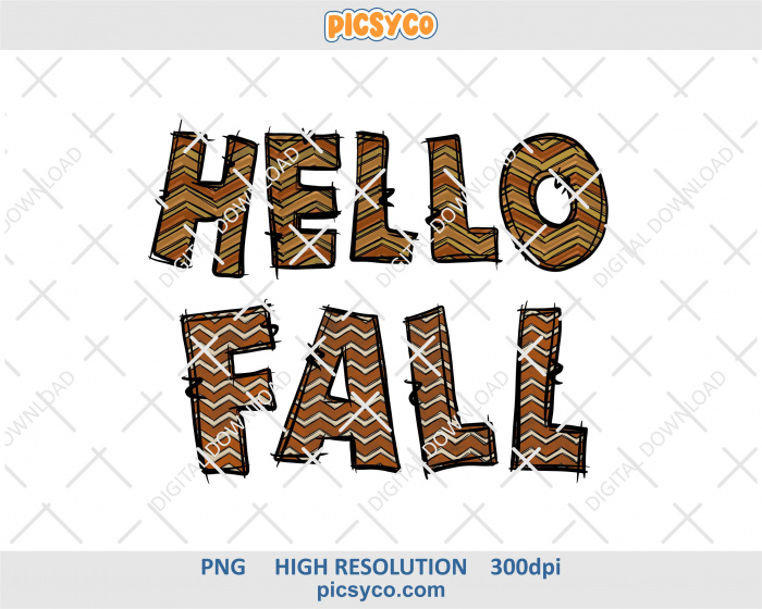 Hello fall png, hand drawn letters, digital download file for sublimation print