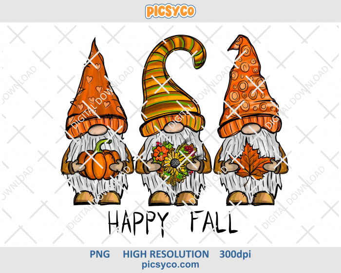Happy fall gnomes png, hand drawn digital download file for sublimation print