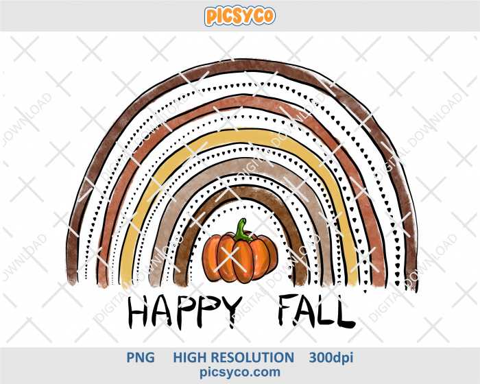 Happy fall rainbow png, pumpkin png, hand drawn digital download file for sublimation print