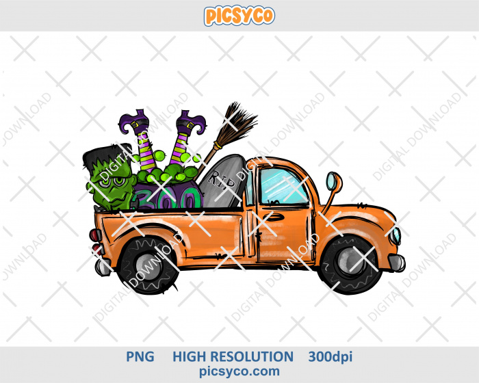 Halloween truck png, rip png, hand drawn digital download file for sublimation print
