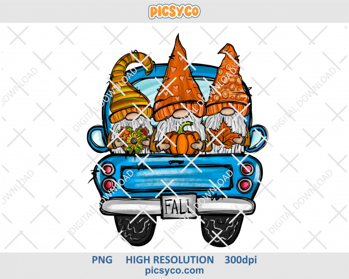 Fall truck with gnomes png, hand drawn digital download file for sublimation print