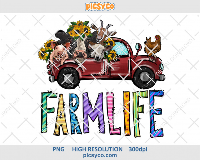 Farm life png, truck with animals png, hand drawn digital download file for sublimation print